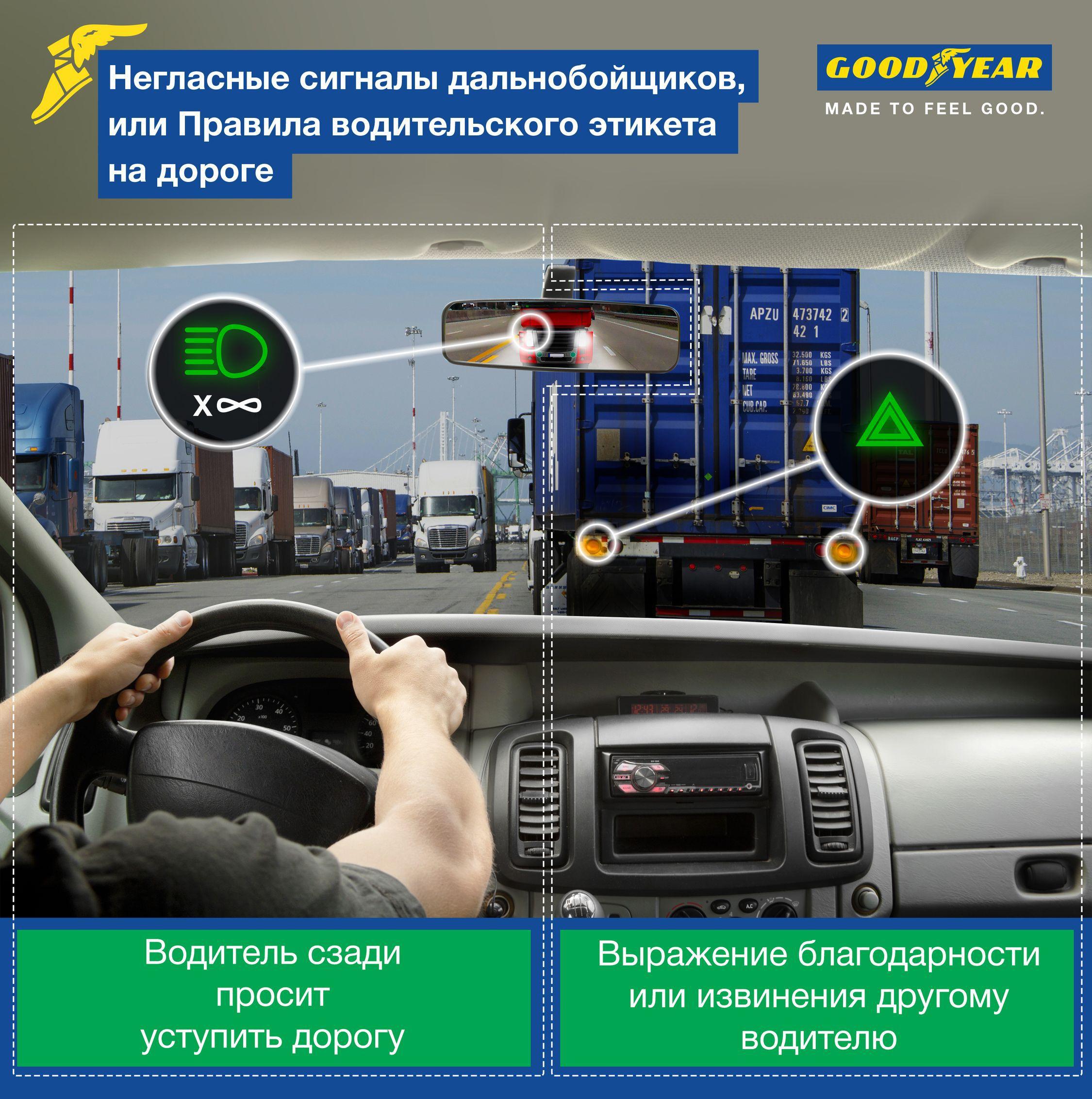 Сигналы дальнобойщиков - мигание сзади и аварийка